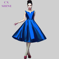 CX SHINE Custom Color Fashion tea length V Neck short stain bridesmaid dresses wedding Party dress Mid calf prom dress Plus Size