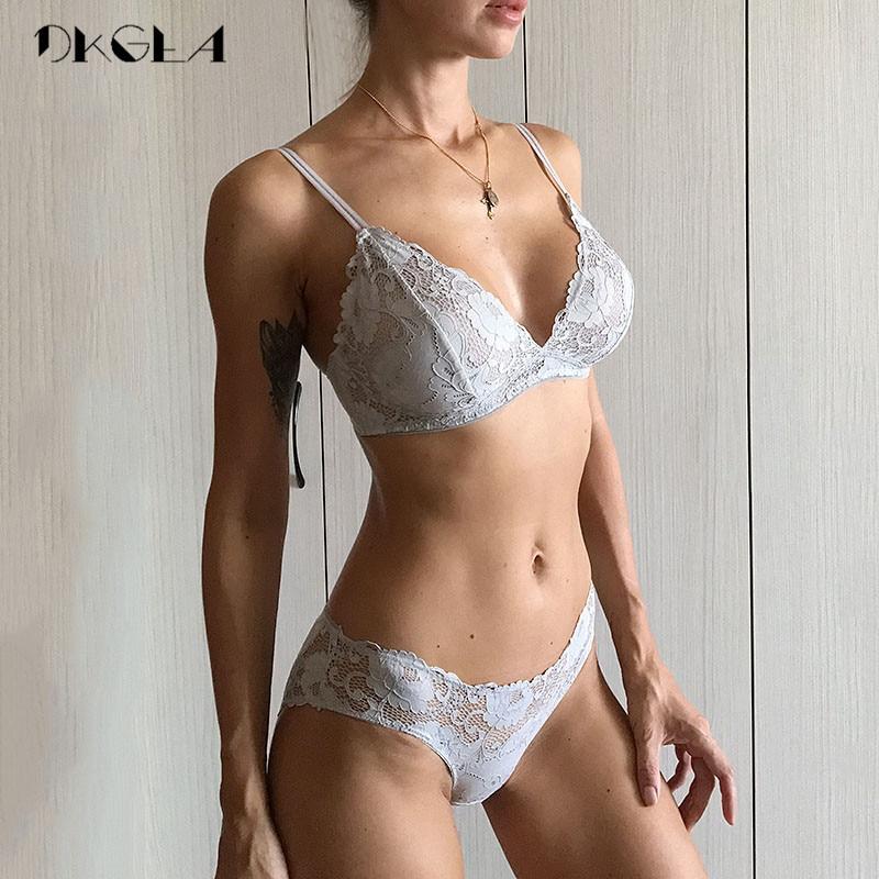 Ultrathin Gray Bra Set Sexy Plus Size C D Cup Women Lingerie Sets Lace Black Bras Hollow Out Brassier Underwear Set Transparent-in Bra & Brief Sets from Underwear & Sleepwears