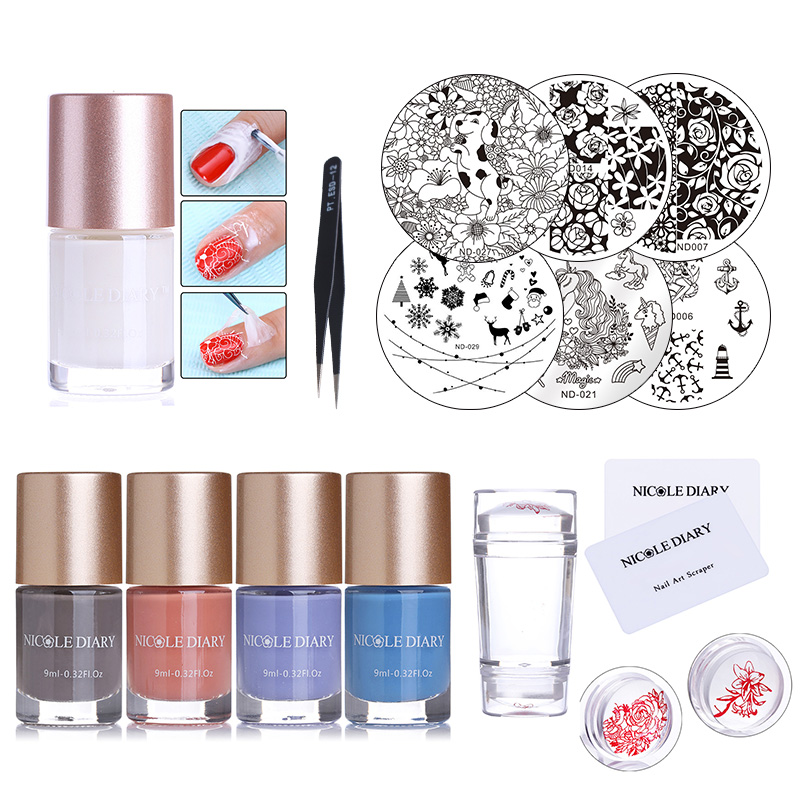 6 Bottles NICOLE DIARY Stamping Polish with Stamp Image Plates Clear Stamper Scrapers White Nail Art Latex Liquid Tape Set image art