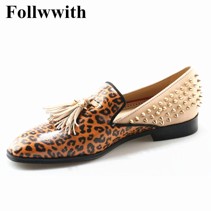 Leopard Leather Patchwork Rivets Studded Tassel Fringe Men Loafers Flats Round Toe Slip On Sapatos Mujer Party Shoes fashion tassels ornament leopard pattern flat shoes loafers shoes black leopard pair size 38