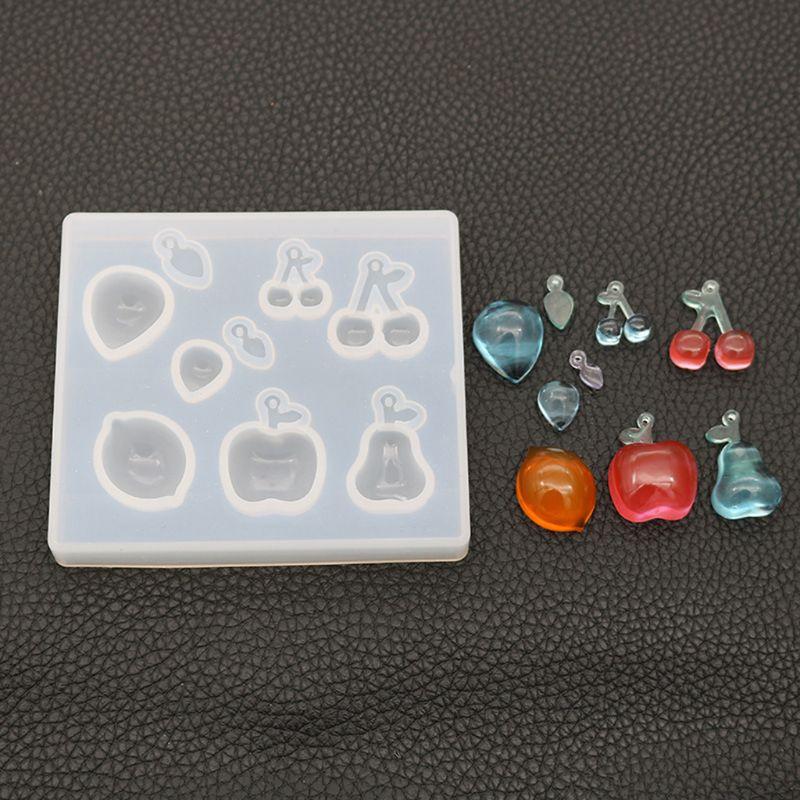 Creative DIY Crystal Epoxy Mold Fruit Strawberry Cherry Earrings Handmade Making Pendant Dessert Mirror Mould