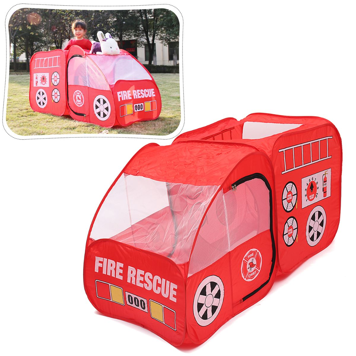 Portable Fire Truck Play Tent Kids Up Indoor Outdoor Playhouse Toy Gift