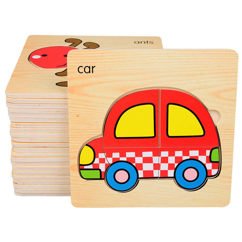 c44c7773193c ... Simple Wooden Jigsaw Puzzle Cartoon Animal Vehicle Wood Toy for Kids  Baby Early Educational Learning Toys ...