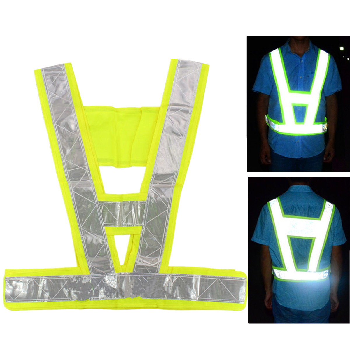 Reflective Safety Vest Jacket Traffic Security Vest High Safety Visibility Reflective Stripe Gear Outdoor Cycling Running Vest contrast stripe trim pearl detail vest
