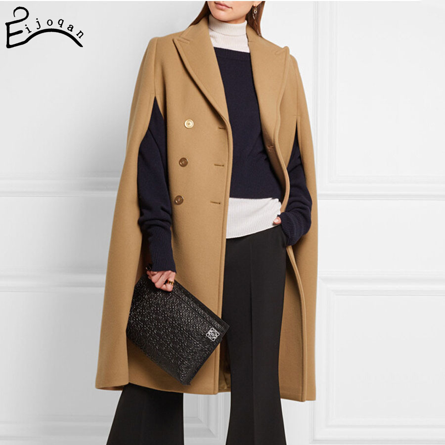2017 new winter In Europe and the British suit collar double-breasted long cloth coat female cape coat v402