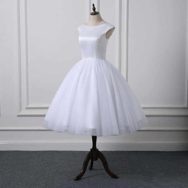 Short Cap Sleeve Knee Length Scoop Neckline Simple Ball Gown Wedding Dress