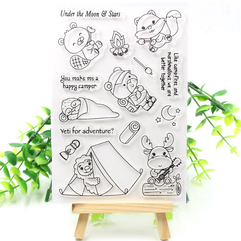 KSCRAFT Happy Camper Transparent Clear Silicone Stamps for DIY Scrapbooking/Card Making/Kids Crafts Fun Decoration Supplies