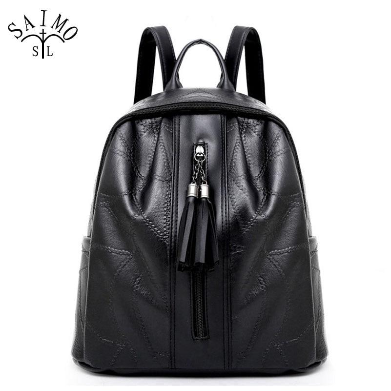 Borse da donna in pelle morbida PU nero borse per adolescenti nappa ... 2a59df97917