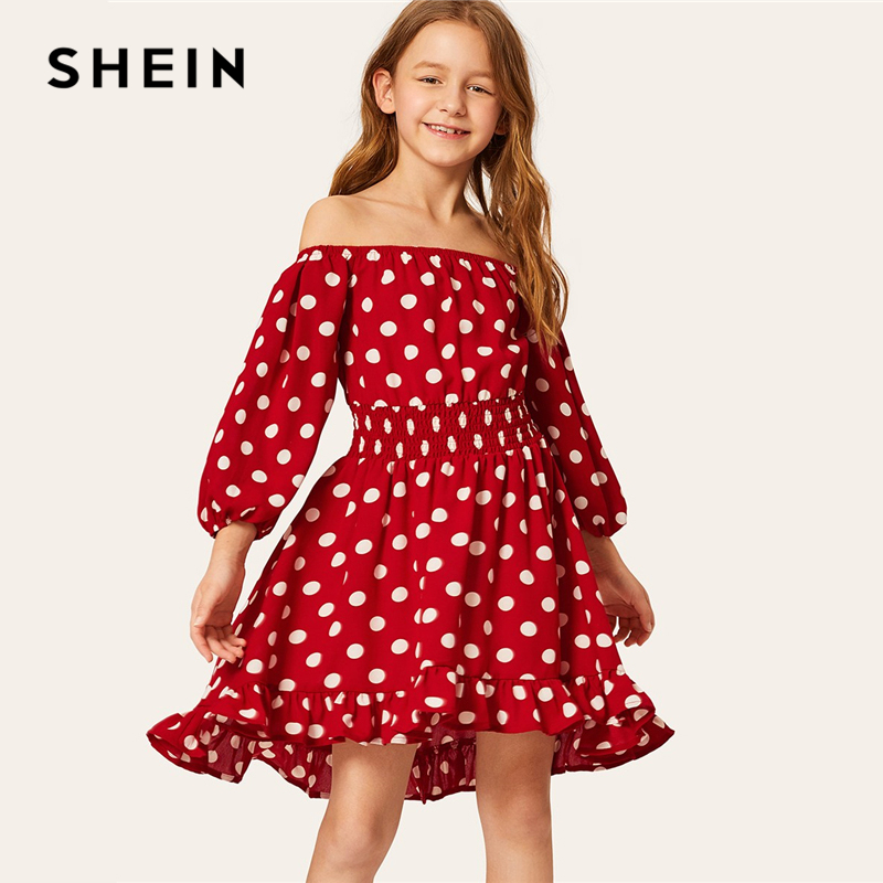 где купить SHEIN Kiddie Burgundy Polka Dot Shirred Waist Vacation Dress 2019 Summer Off The Shoulder Bishop Sleeve Boho Dresses For Girls дешево