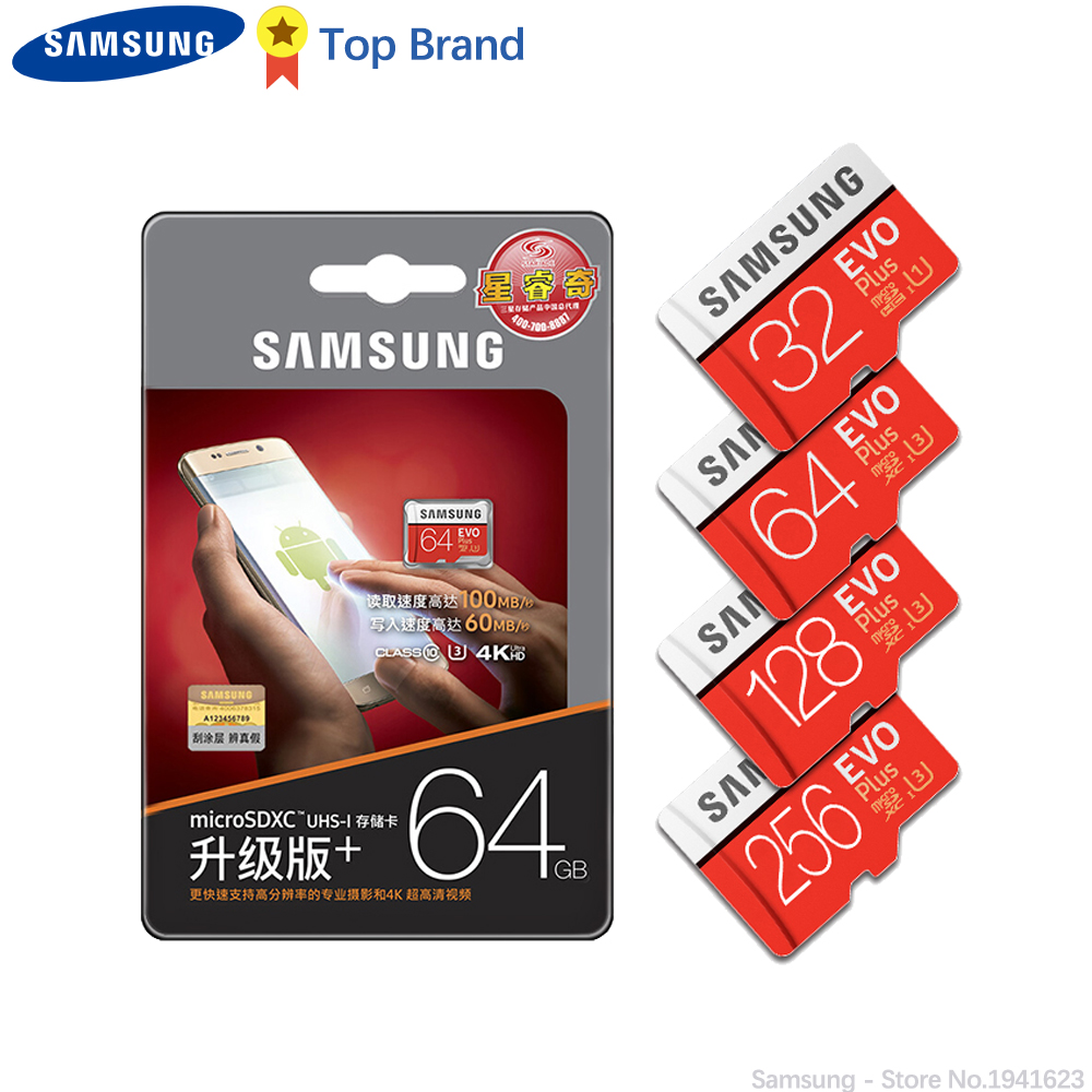 SAMSUNG 100% Original TF Micro SD Card memory Card MicroSD EVO Plus Class 10 Grade 3 128GB Smartphone Tablet Camera-in Micro SD Cards from Computer & Office