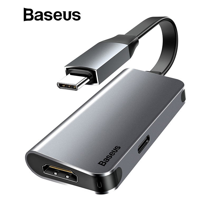 Baseus 2 in 1 USB Type C to HDMI Adapter Extension Cable 60W Fast Charging USB C to 4K HDMI Converter for Macbook Samsung Xiaomi remax 2 in 1 micro usb cable 1m fast charging