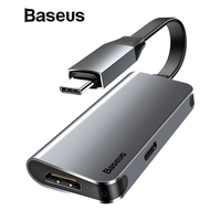 Baseus 2 in 1 USB Type C to HDMI Adapter Extension Cable 60W Fast Charging USB C to 4K HDMI Converter for Macbook Samsung Xiaomi