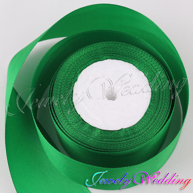 25 Yards Dark Green Satin Ribbon 50mm For Diy Crafts Headband Bow Sbooks Wedding Decoration