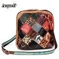 AEQUEEN Women Shoulder Bag Genuine Leather Patchwork Vintage Flower Shell Crossbody Messenger Bags Random Color