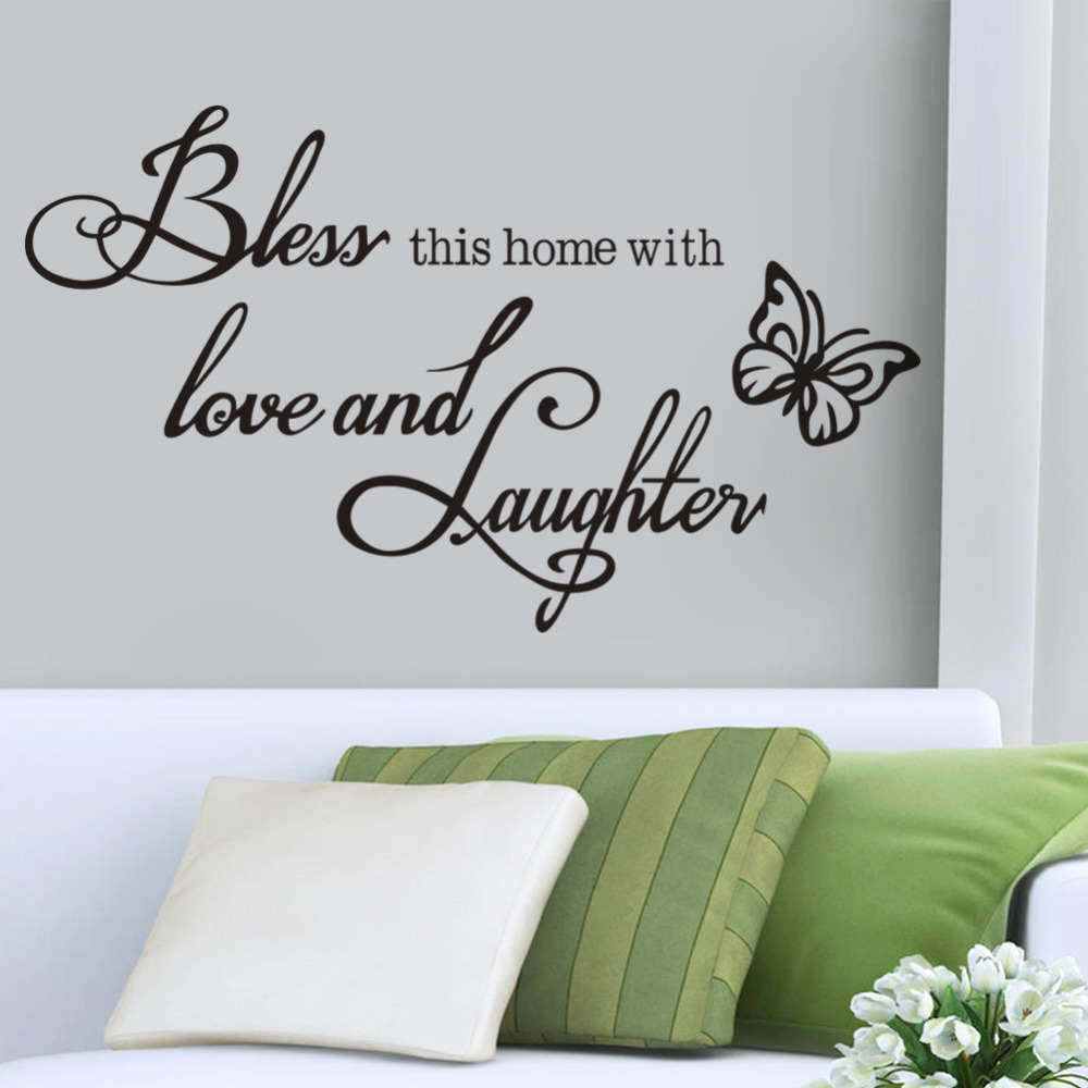 Buy bless love laughter vinyl quotes for Home decor quotes on wall