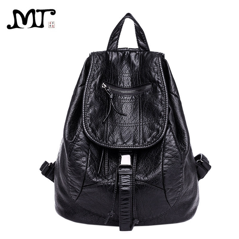 MJ Soft Leather Women Backpack Large Travel Bag PU Leather Female Daypack Black Backpack School Bag for Teenage Girls amasie girls school bags for teenagers bag soft pu leather women bag travel backpack daypack get0046