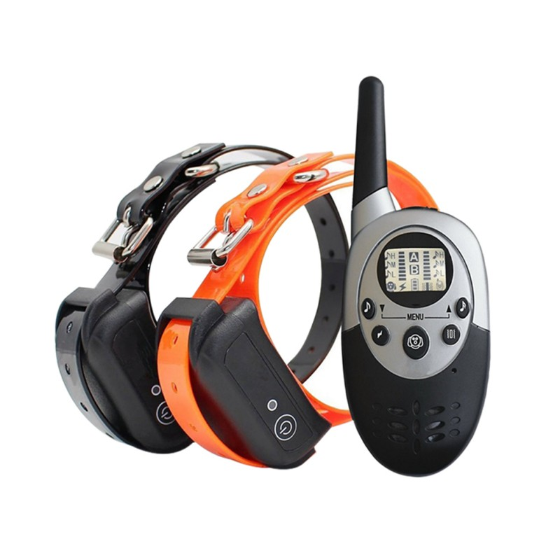 2018 Newest Waterproof Rechargeable Remote Training Dog Collar with Beep, Vibration and Electric Shock for 2 Dogs
