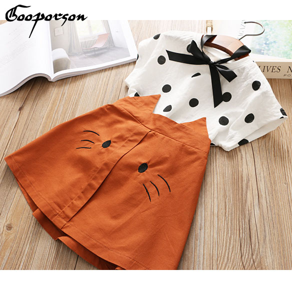 Girls Fashion Clothes Set New Lovely Dot Shirt With Cat Skirt Summer Outfit Sets Cotton Clothing Set For Kids And Children SetsGirls Fashion Clothes Set New Lovely Dot Shirt With Cat Skirt Summer Outfit Sets Cotton Clothing Set For Kids And Children Sets