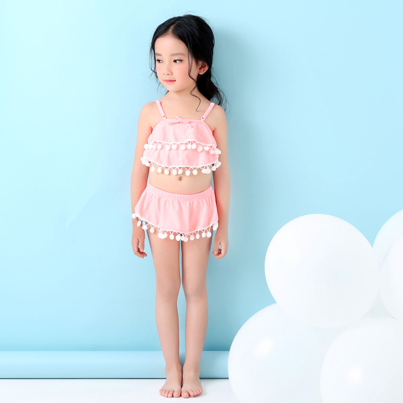 M&M Cute Girls Solid Swimsuit With White Pompon Decoration ...
