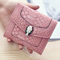 LEFTSIDE 2017 Fashion Women Wallets PU Leather Crocodile Short Wallet Serpentine 3 Folding Coin Purses Lady Mini Card Holder