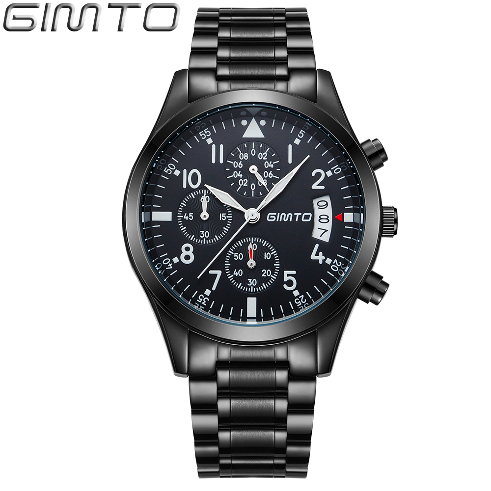 2016 new GIMTO Brand men s watches quartz watch men real three dial luminous waterproof