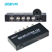 4 Port SDI Splitter 1 Input 4 Output with AUX 3.5mm BNC Video Splitter Box for Video Monitoring System Resolution up to 1080p