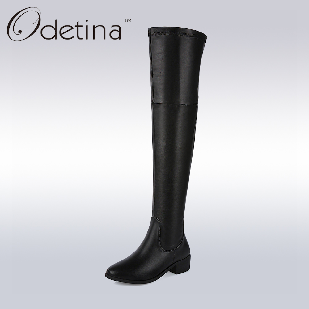ФОТО Odetina Handmade Large Size Women Pointed Toe Over The Knee Boots Chunky Heel Long Tall Boots with Side Zipper for Skinny Legs