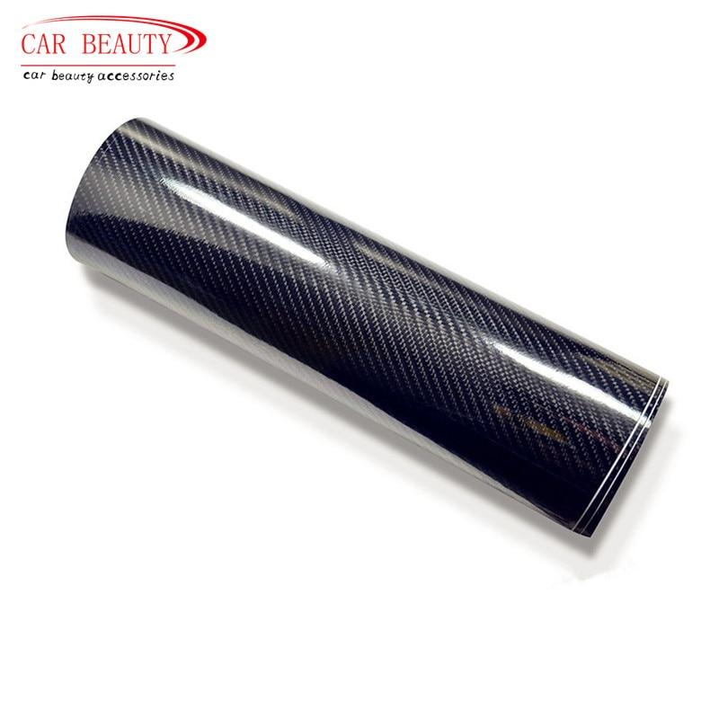 Prix pour 200x50 cm Autocollant De Voiture De Haute Brillant Noir 5D En Fiber De Carbone Vinyle Wrap Film DIY De Voiture Décoratif Pour Véhicule moto