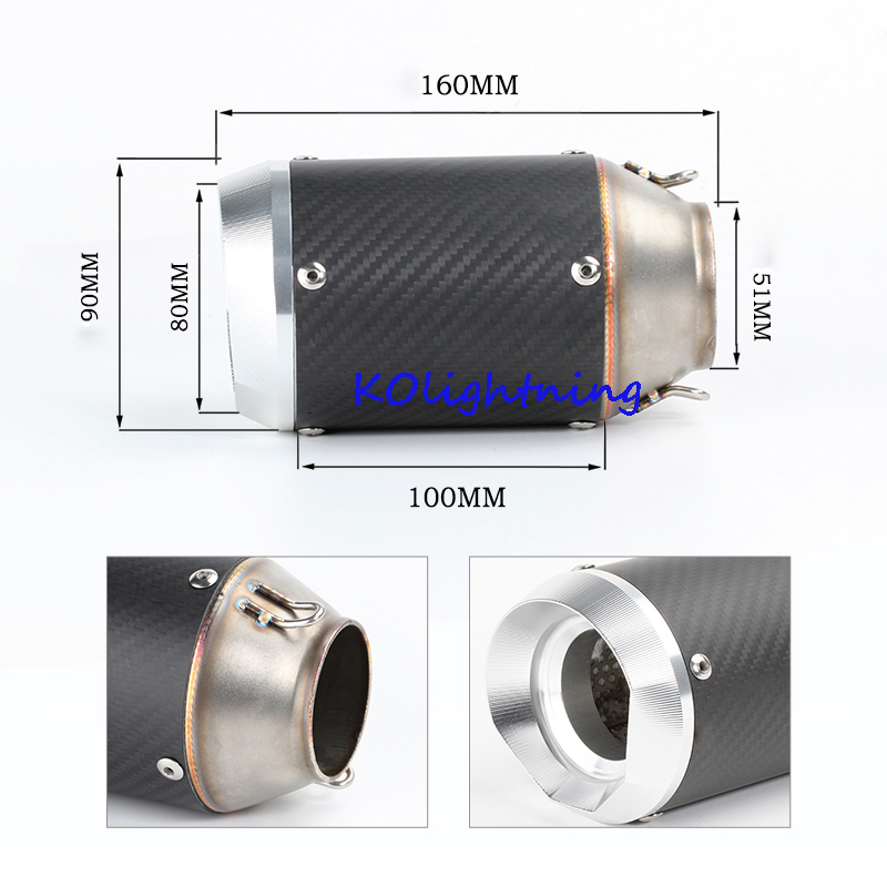 51mm Inlet Motorcyle Exhaust Pipe Exhaust Silencer with Baffler Pipe For Z1000 Z750 Z800 NINJA250 Tmax530 KTM ATV