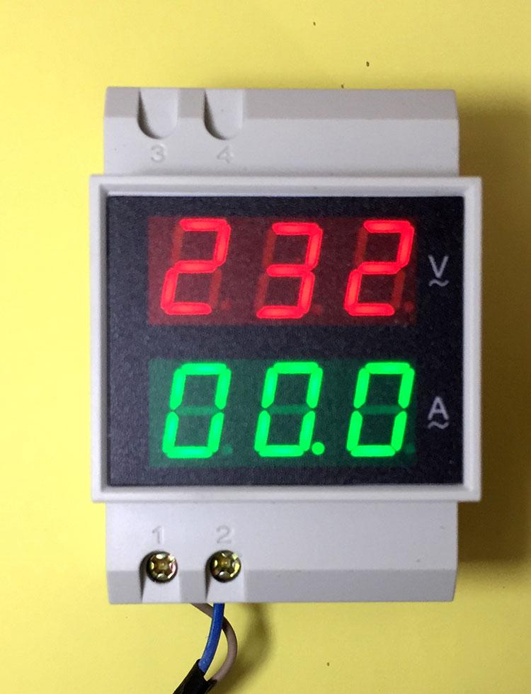 Din Rail Dual Led Display Digital AC Voltmeter Ammeter Voltage Ampere Meter Volt Current Panel Tester AC80-300V 0.1-99.9A free shiping din rail dual digital display range ac 80 300v 0 100a voltage and current meter din rail voltmeter ammeter