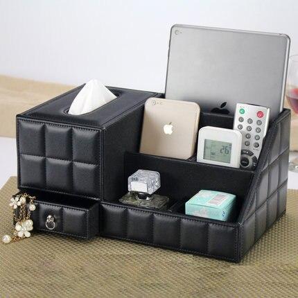 Fashion leather desktop storage box living room coffee table tissue box remote control box table napkin