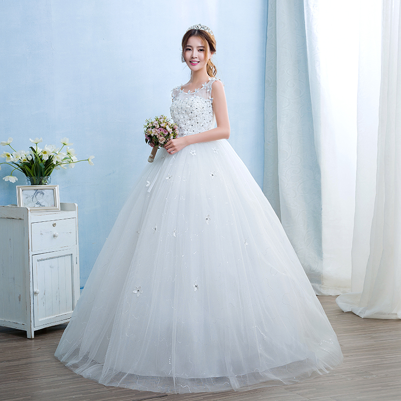 Free shipping New White Wedding Ball Gowns o neck Sleeveless Cheap ...