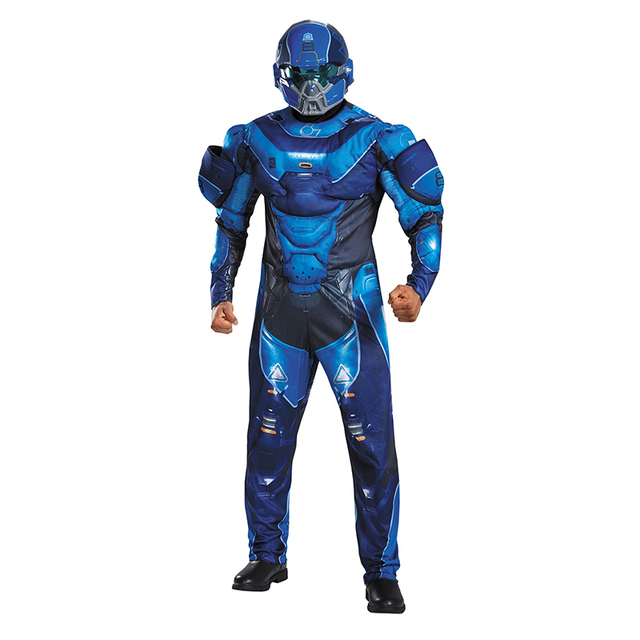 mens blue spartan athlon costumes jumpsuits and helmet halo 5 guardians cool halloween christmas costumes disfraces