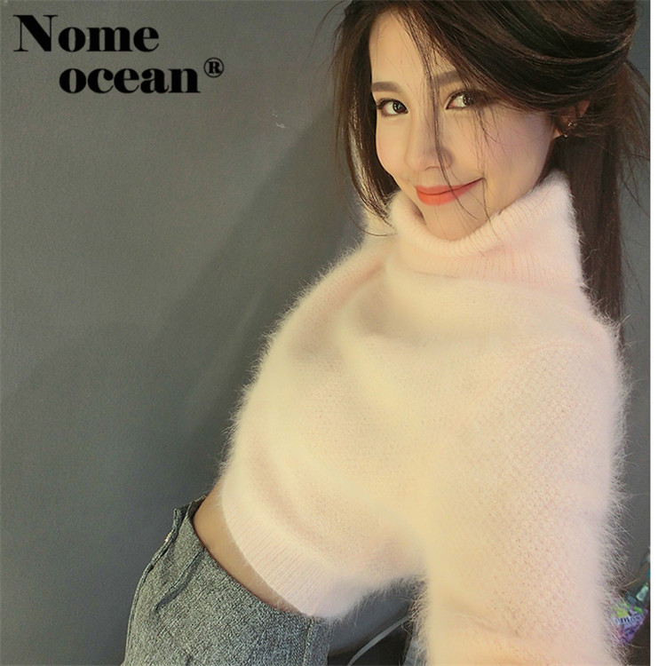 Long Hairy Fuzzy Sweaters Knitted Turtleneck Sweater Long Sleeve Tops Of Women 2018 Autumn Fashion Knit Women Jumper M17032320