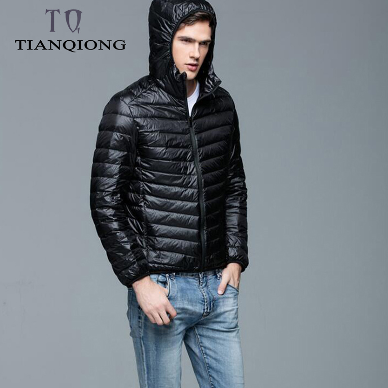 TIAN QIONG Brand Autumn Winter Light   Down   Jacket Men's Fashion Hooded Short Large Ultra-thin Lightweight Youth Slim   Coat   4XL