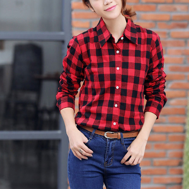 c990a141 Pretty Plaid Shirt Women 2015 Autumn Winter Student Long Sleeve Cotton  Casual Shirt for Girls Black Red and White Black Blouse