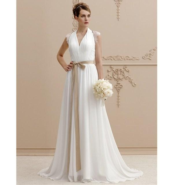5005a16cd6 LAN TING BRIDE Linii V Neck Sweep Brush Pociąg Suknia Ślubna sukienka  Szyfon Koronki Suknia