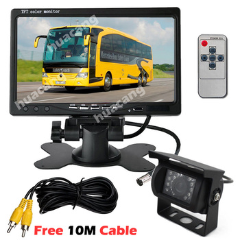 """12V-24V 7"""" TFT LCD Screen HD Monitor Bus Truck Trailers 18LEDs IR Rear View Reversing Backup Camera with 10M video Cable"""
