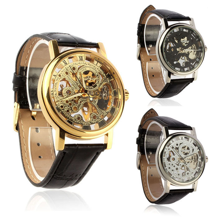 Mens Luxury Mechanical Skeleton Watch Hand Wind Up Leather Strap Wristwatch  1pcs men s luxury mechanical wristwatch skeleton watches hand wind up leather strap free shipping wholesale relogio masculino j5