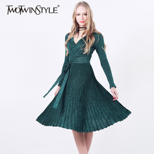 [TWOTWINSTYLE] Spring Pleated Large Hem V Collar High Waist Lace Up Shiner Knitted Elastic Dress Women New Vintage Clothing