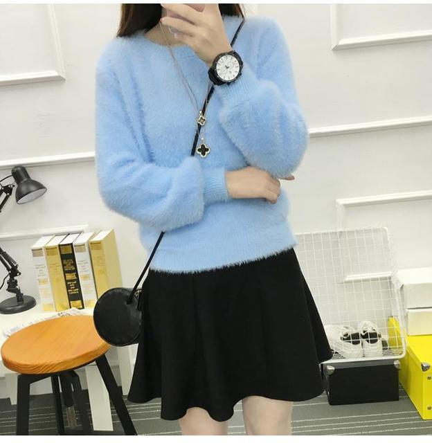 Winter Autumn  Thick Loose Cashmere Sweaters  Long Sleeve Wool Female Pullovers KinttedSweater Women Mohair Pullovers Spring