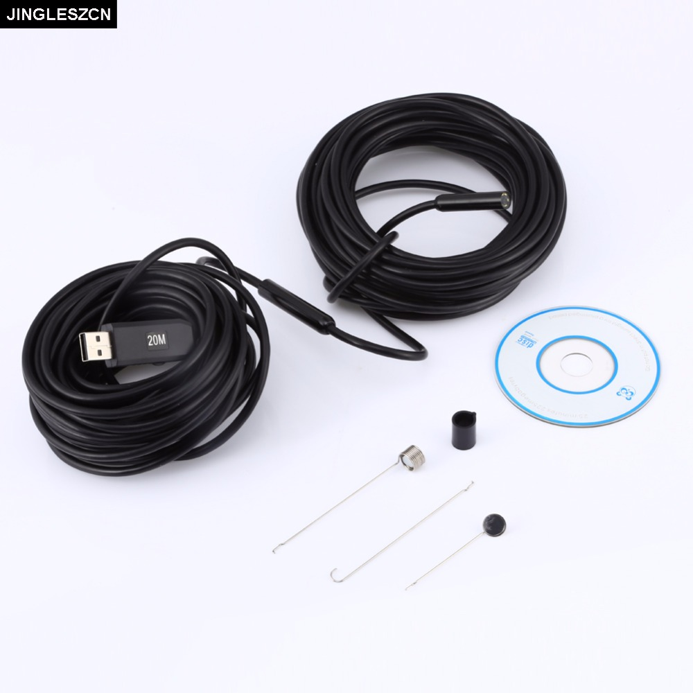 JINGLESZCN 9MM USB Endoscope Mini Camera Waterproof IP67 20m Length Borescope Inspection Cam Snake Video Endoscope Night Vision