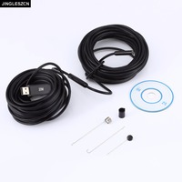 JINGLESZCN USB 9mm Dia 20m Length Endoscope HD Borescope Insepction Camera Lens Waterproof Mirror Snake Video