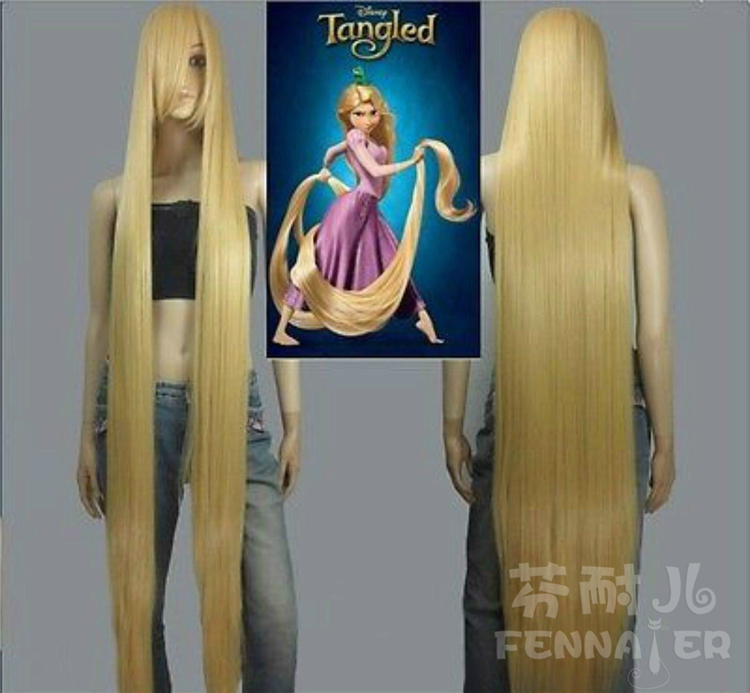 <font><b>150cm</b></font> Straight Long Hair Princess Tangled Rapunzel Cosplay Yellow <font><b>Wig</b></font> Halloween Role Play image