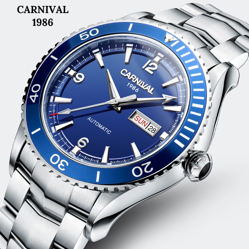 цена CARNIVAL 2018 Professional diving Automatic watch Fashion Sport watch men with Original imported MIYOTA Movement 50m waterproof
