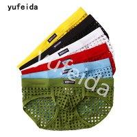 YUFEIDA 6PCS Men Briefs Hollow Out Men's Sexy Low Waist See Through Briefs Hole Underwear Panties Male Adult Sexy Lingerie