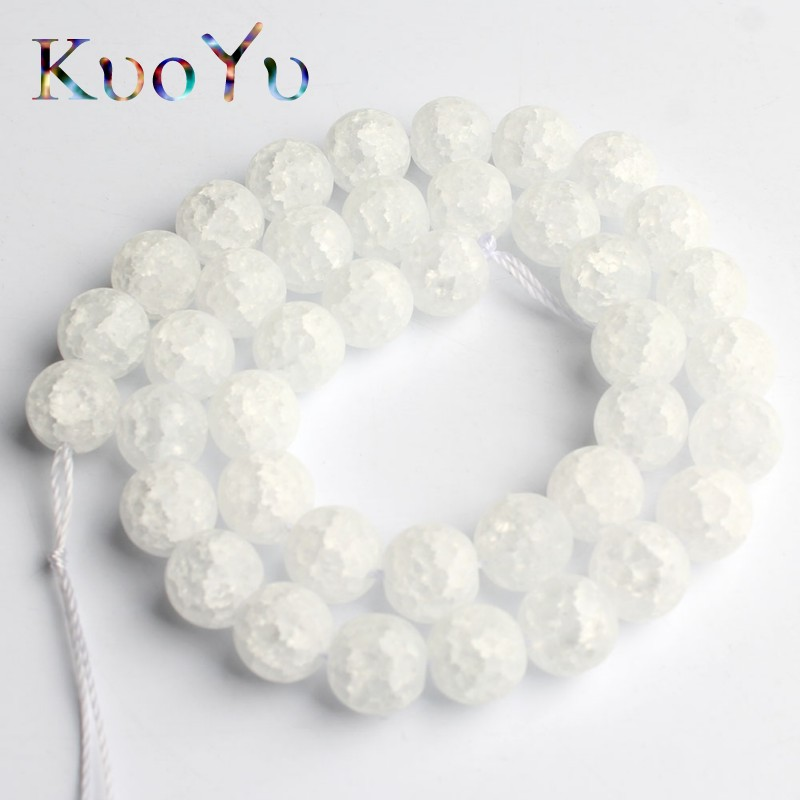 Natural Stone Matte White Snow Cracked Crystal Beads Round Loose Beads For Jewelry Making 15'' Strand 4/6/8/10/12mm Diy Bracelet