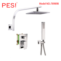 Bathroom Rainfall Shower Faucet Set Single Handle 2 ways Mixer Tap With 8/10/12 inch Rainfall Head Shower Wall Mounted,Chrome.