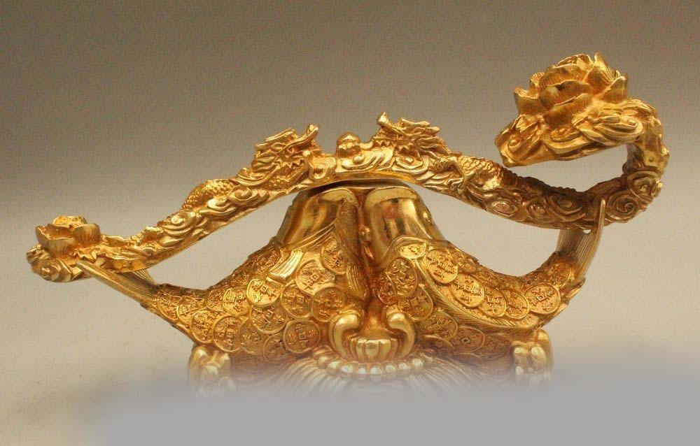 """10"""" Chinese Fengshui Brass Money Wealth Year Fish With"""