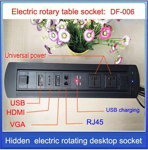 ФОТО EU Plug Electric rotation Desktop socket /hidden/ multimedia VGA HDMI RJ4 USB charging socket/Can choose function module/ DF-006